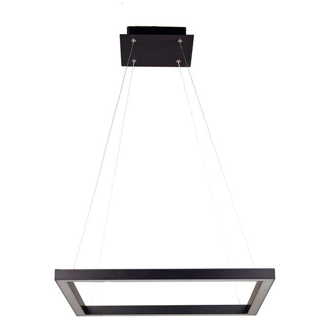 Suspension carrée Draper intensité variable, DEL 30 W, noir