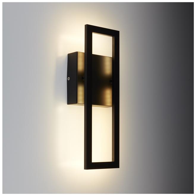 "Modern LED Wall Sconce - 14"" x 5"" - Black"