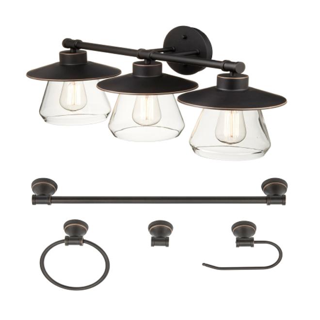 Ensemble de salle de bain 5 pièces bronze huilé de la collection Cabernet de Globe Electric, 3 lumières