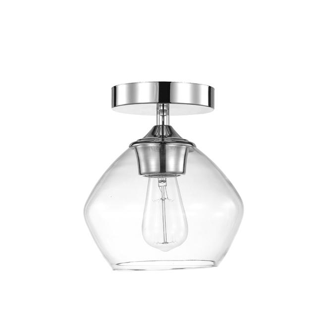Globe Harrow Semi-Flush Mount Ceiling Light - 1 Light - 8-in - Glass/Metal - Chrome/Clear