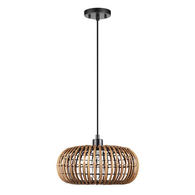 Globe Electric 2-in-1 Pendant Light - 1 Light - Rattan - Brown/Black