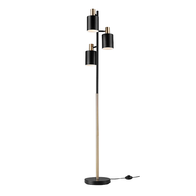 Globe Electric Metal 67-in 3-Light Tree Lamp - Brass and Black