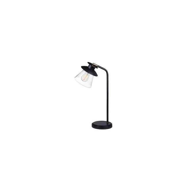 Globe Electric Desk Lamp - 18-in - Glass - Dark Bronze and Brass