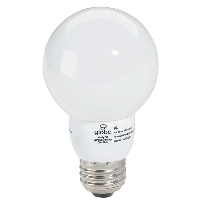 Ampoule fluocompacte pour meuble lavabo, 7 W, blanc froid, 1/pqt