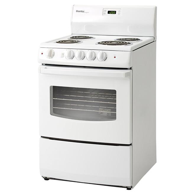 Cuisinière électrique autoportante compacte, 3 pi³, blanc