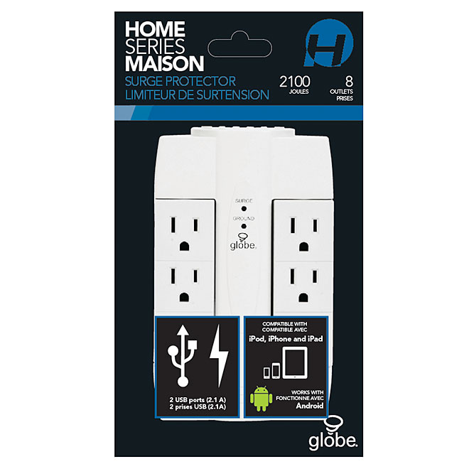 Surge-Protected Swivel Power Bar - 6 Outlets/2 USB Ports