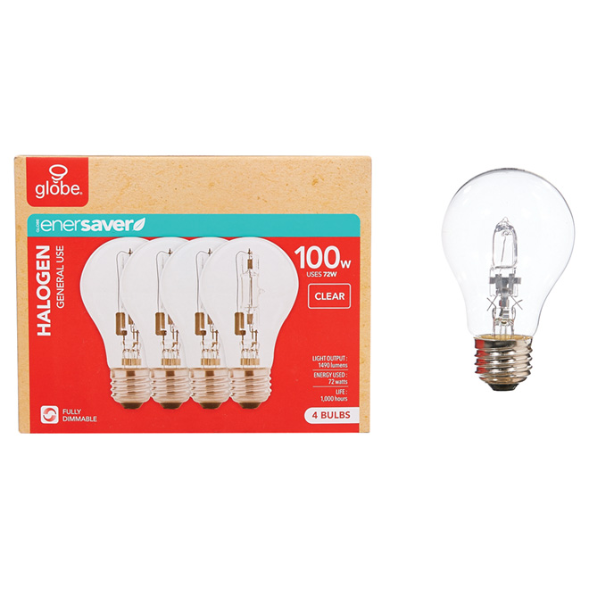 72W Halogen Dimmable A19 Bulb - Clear - 4 Pack