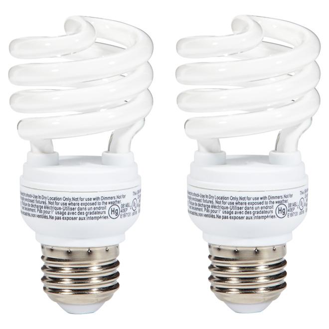 Ampoule fluocompacte T2 13 W, blanc doux, paquet de 2