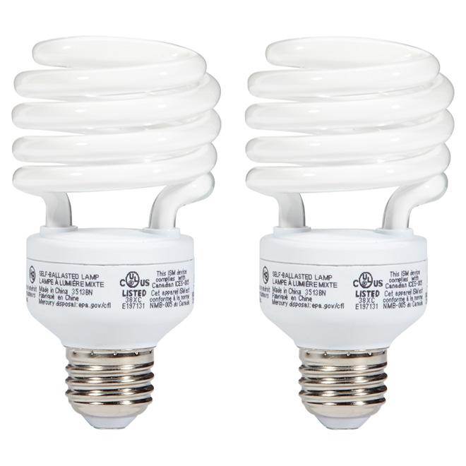 Ampoule fluocompacte T2 23 W, blanc doux, paquet de 2
