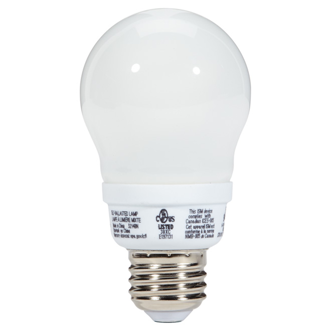 Ampoule fluocompacte T3 type-A 7 W, blanc doux