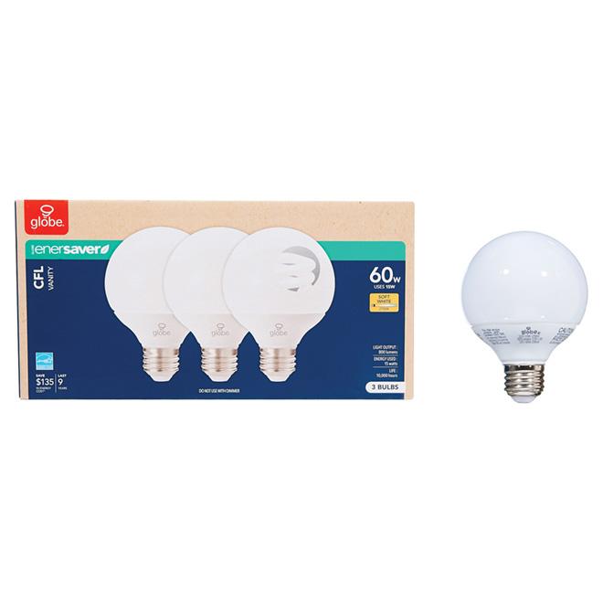 Ampoule fluorescente compacte de type G, 120 V, pqt/3