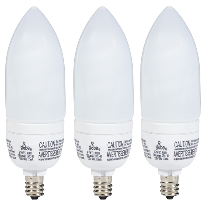 7W Compact Fluorescent T2 Type B Bulb - 120V - 3 Pack