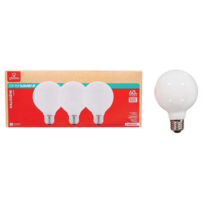 Paquet de 3 ampoules halogènes blanc doux G25 de 43 W