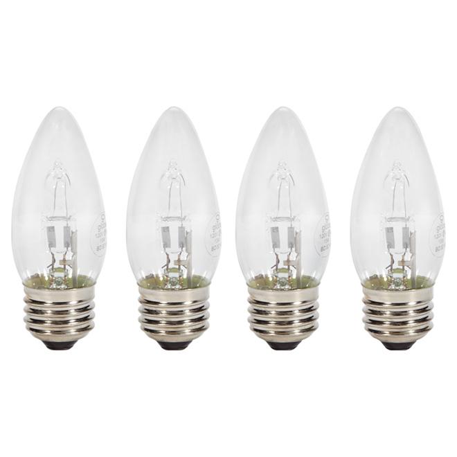 Paquet de 4 ampoules halogènes transparentes B11 de 43 W