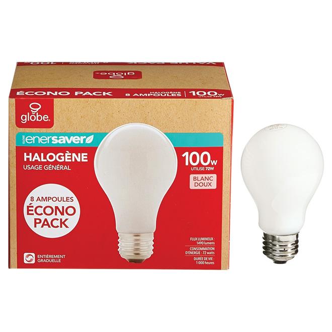 Paquet de 8 ampoules halogènes blanc doux A19 de 72 W