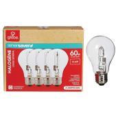 Paquet de 4 ampoules halogènes transparentes A19 de 43 W