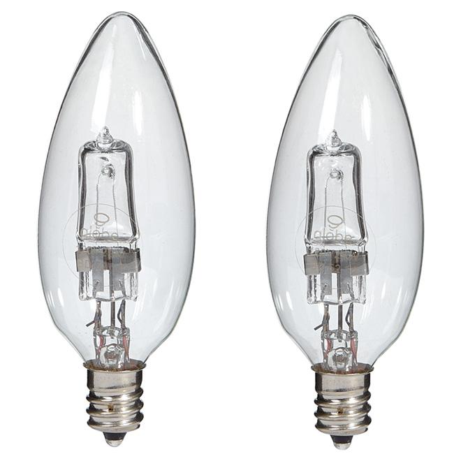 Paquet de 2 ampoules halogènes transparentes B10 de 29 W