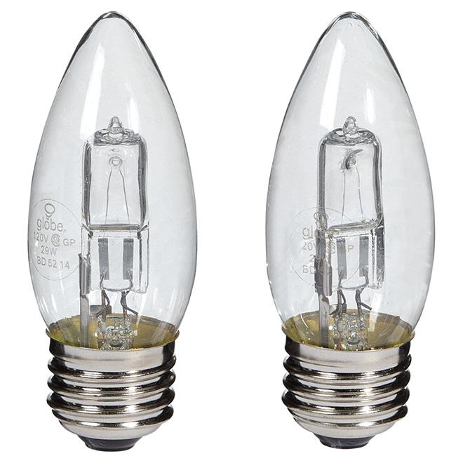 Paquet de 2 ampoules halogènes transparentes B11 de 29 W