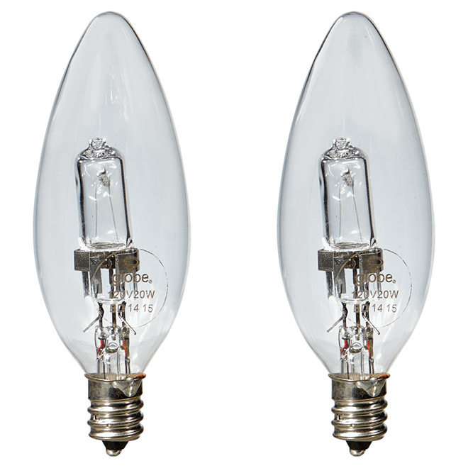 20W Halogen B10 Light Bulb - 120V - 2 Pack