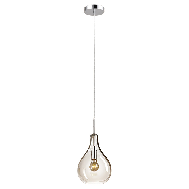 Globe 1-Light Plug-In Teardrop Pendant Light - 15' - Chrome