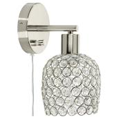 1-Light Wall Sconce with Crystal Shade