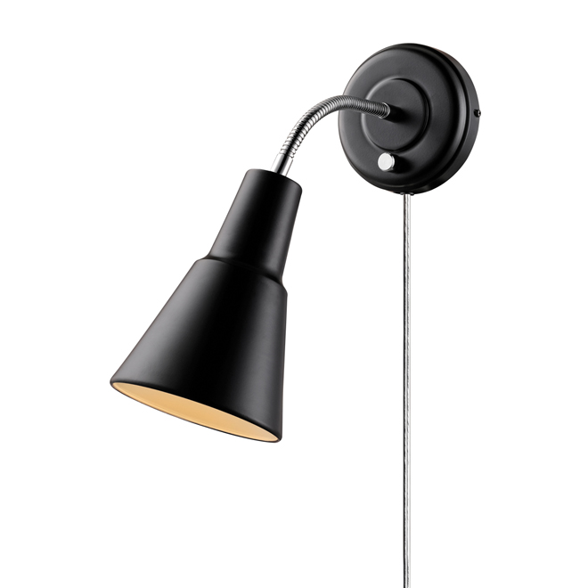 1-Light Flexible-Arm Wall Sconce - Black