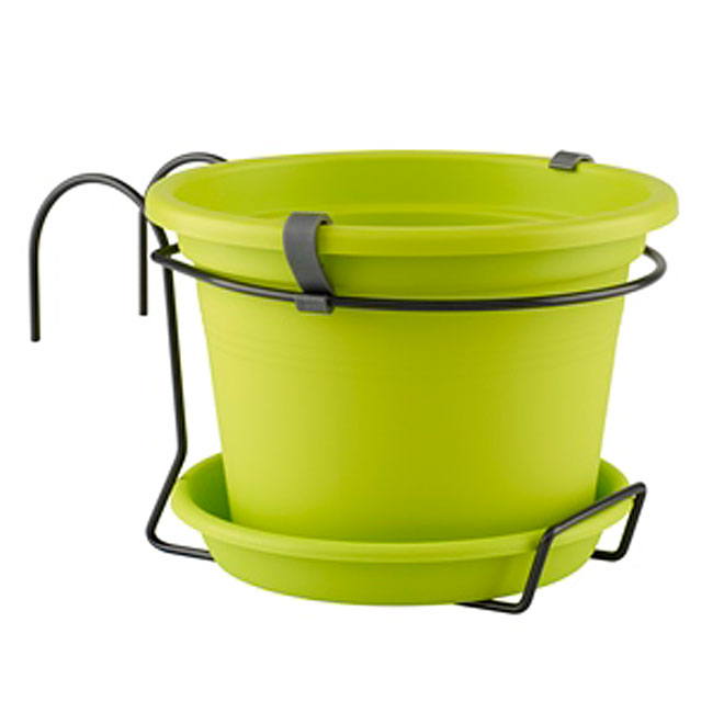 Pot et soucoupe «Cilindro» vert lime