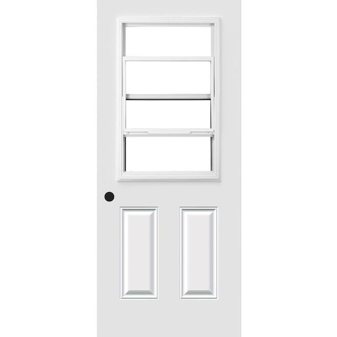 Porte Dentrée Avec Fenêtre à Guillotine 34 X 80 Blanc Droite