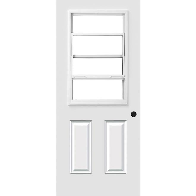 """Porte d'entrée avec fenêtre à guillotine, 34"""" x 80"""", blanc, gauche"""