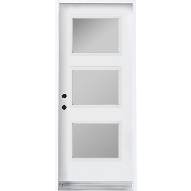 "Exterior Door with 3 Glass Panels -  Right - 34"" - White"