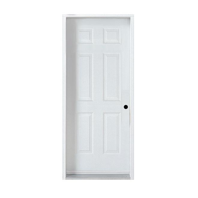 Porte en acier à 6 panneaux, gauche,34'', blanc