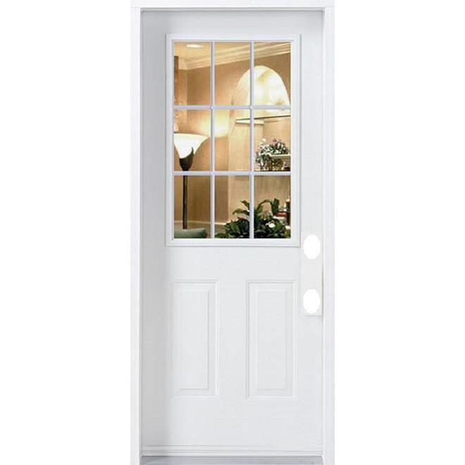 Portes Ard Left Hinge 9 Lite Door - Steel - 35.3-in x 82.5-in - White