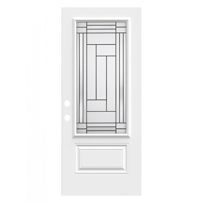 Portes ARD Right Hinge Louisbourg Door - Steel - 35.3-in x 82.5-in - White