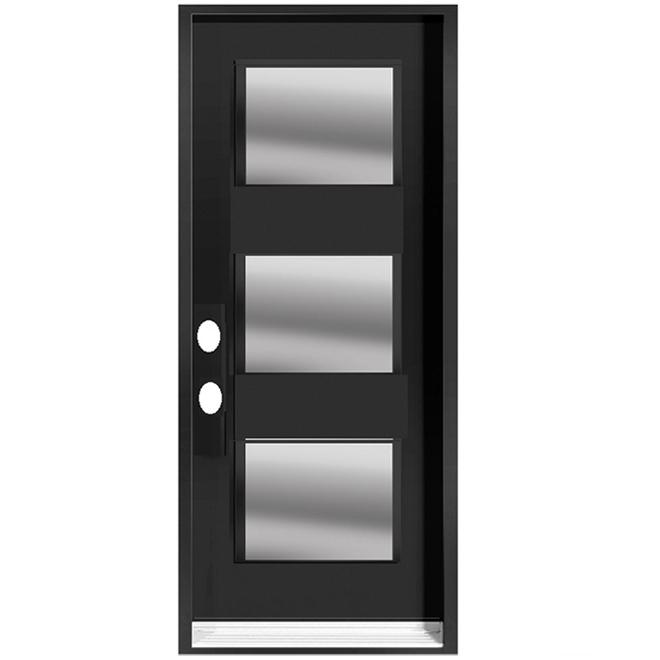 Portes ARD - Right Hinge 3 Lites Door - Steel - 35 3/8-in x 82 1/2-in - Black Matte