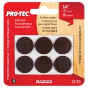 "Self-Adhesive Medium-Duty Felt Pads - Round - 3/4"" - 6/Pk"