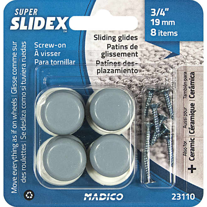 "Sliding Screw-On Glides - Round - 3/4"" - 8//Pk"