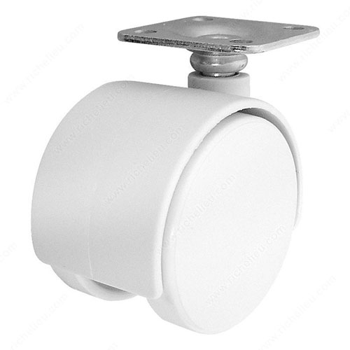 """Dual Furniture Caster with Plate - 2"""" - White"""