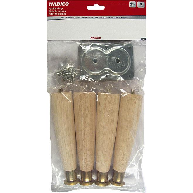 """Wood and Metal Legs - 63/8"""" - Natural - 4/Pk"""