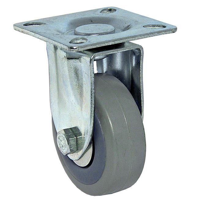 """Roulette rigide en caoutchouc gris sur plaque, 88 lb, 2"""""""