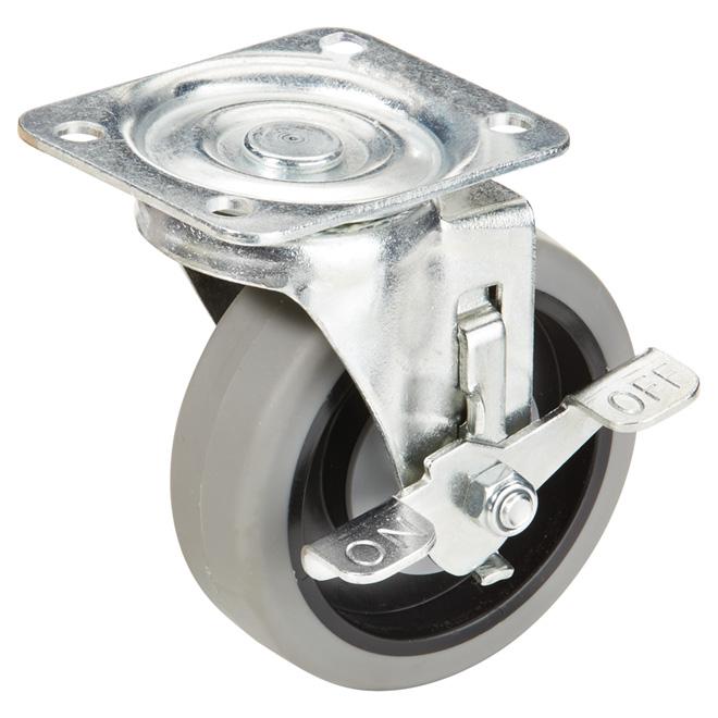 """Roulette en caoutchouc thermo gris sur plaque, 247 lb, 4"""""""