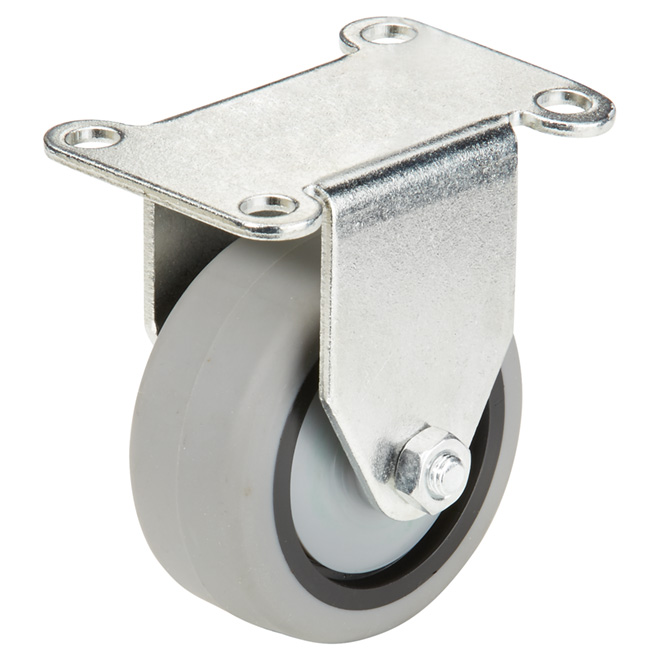 """Grey Thermo Rubber Plate Rigid Caster - 176 lbs Capacity -3"""""""