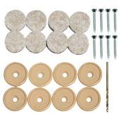Screw-on Felt Pads - Round - Beige - 3/4