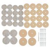 Nail-On Felt Pads - Round - Beige - 1 1/8
