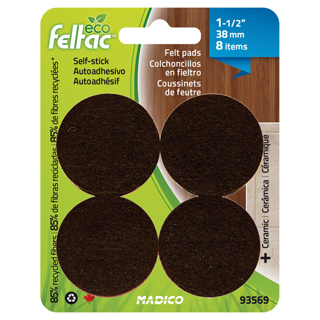 "Self-Adhesive Felt Pads - Eco - Round - Black - 1 1/2"" -8/Pk"
