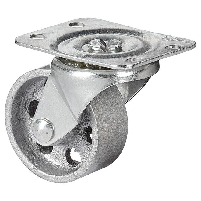 """Roulette pivotante en fer fritté sur plaque, 126 lb, 2"""""""