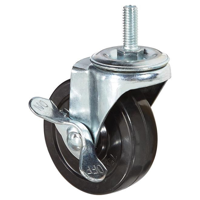 """Roulette ajustable à tige filetée, cap.126 lb, frein, 3"""""""