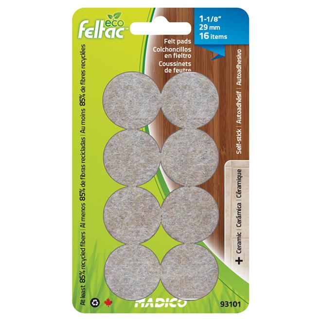 "Self-Adhesive Felt Pads - Eco - Round - Beige -1 1/8"" -16/Pk"