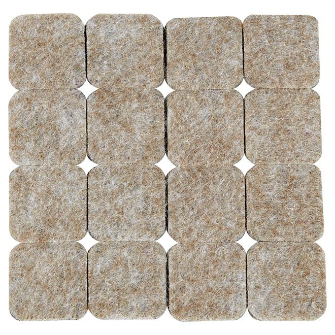 "Self-Adhesive Felt Pads - Eco - Square - Beige - 1"" - 16/Pk"
