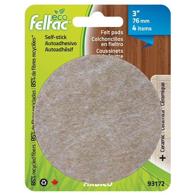 "Self-Adhesive Felt Pads - Eco - Round - Beige - 3"" - 4/Pk"