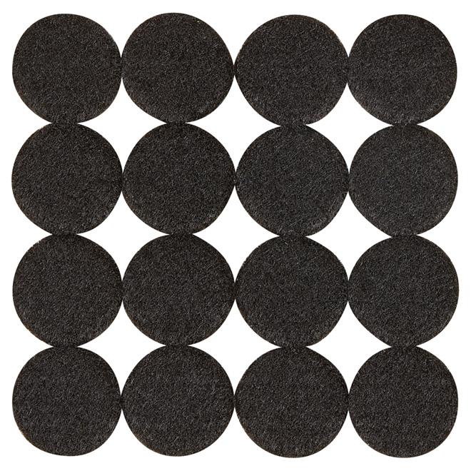 """Coussinets autoadhésifs Eco, ronds, noirs, 1 1/8"""", 16/pq"""